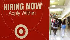 A Target store in Daly City, Calif, advertises for employment. Holiday hiring by retailers is expected to exceed 2008 and 2009 levels, although still fall considerably short of pre-recession totals.
